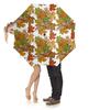 """Зонт-трость с деревянной ручкой """"Кленовые яркие листья"""" - листья, осень, деревья, орнамент, мехенди"""