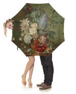 """Зонт-трость с деревянной ручкой """"Цветы в терракотовой вазе"""" - картина, бранд"""