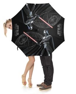 """Зонт-трость с деревянной ручкой """"Star Wars - Darth Vader&Death Star"""" - космос, фантастика, звездные войны, дарт вейдер, звезда смерти"""
