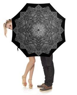 """Зонт-трость с деревянной ручкой """"Необычный зонтик для мужчины"""" - узор, орнамент, подарок, геометрия, этнический"""