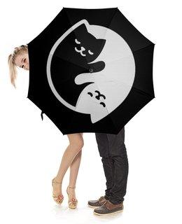 """Зонт-трость с деревянной ручкой """"Котята под дождем."""" - кошки, инь янь"""