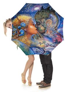 """Зонт-трость с деревянной ручкой """"Fantasy Design"""" - фэнтази, поцелуй, любовь, пара, фантастика"""