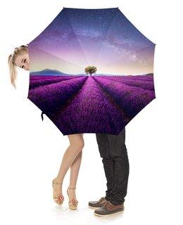 """Зонт-трость с деревянной ручкой """"Без названия"""" - космос, небо, природа, звёзды, лаванда"""
