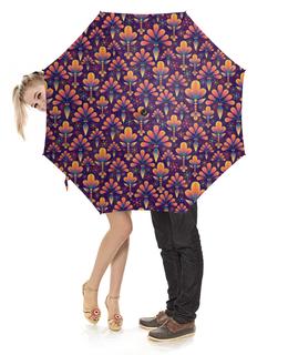"""Зонт-трость с деревянной ручкой """"Фиолетовая абстракция"""" - цветы, рисунок, фиолетовый, абстракция"""
