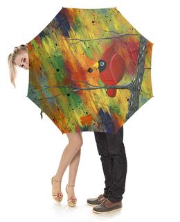 """Зонт-трость с деревянной ручкой """"Непогода"""" - красная птица, птица кардинал, осенняя непогода, яркий дизайн, красочный абстрактный фон"""