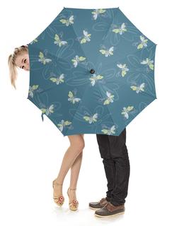 """Зонт-трость с деревянной ручкой """"Бабочки"""" - бабочки, силуэт, голубой, желтый, бирюзовый"""