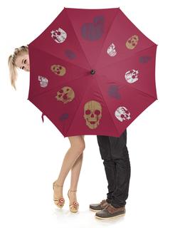"""Зонт-трость с деревянной ручкой """"Dead черепа"""" - череп, узор, черепа, состаренный"""