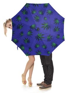 """Зонт-трость с деревянной ручкой """"Листья конопли"""" - листья, зеленый, синий, конопля, каннабис"""