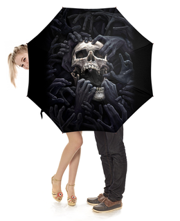 """Зонт-трость с деревянной ручкой """"Skull hands"""" - череп, скелет, ужасы, арт дизайн"""