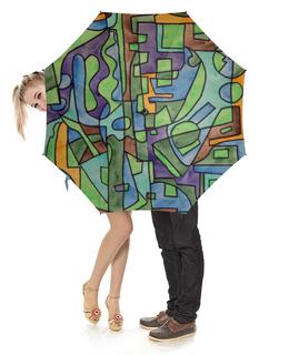 """Зонт-трость с деревянной ручкой """"W`ZZZZCX`90.1"""" - арт, узор, абстракция, фигуры, текстура"""
