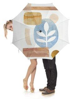"""Зонт-трость с деревянной ручкой """"Абстракция"""" - коллаж, синий, абстракция, акварель, ботаническая"""
