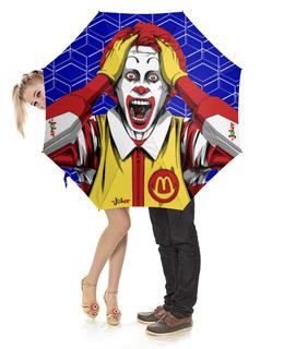 """Зонт-трость с деревянной ручкой """"McJoker"""" - джокер, клоун, пародия, суперзлодей, юмор"""