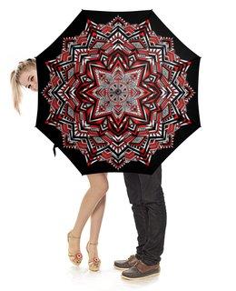 """Зонт-трость с деревянной ручкой """"Зонтик в этно-стиле (черно-бело-красный)"""" - орнамент, подарок, этно, мандала, геометрия"""