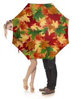 """Зонт-трость с деревянной ручкой """"ОСЕННИЙ ЛИСТОПАД"""" - осень, кленовые листья, красота, яркость, стиль"""