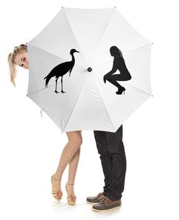 """Зонт-трость с деревянной ручкой """"Силуэт девушки и силуэт птицы на белом зонте"""" - девушка, птица, зонт"""