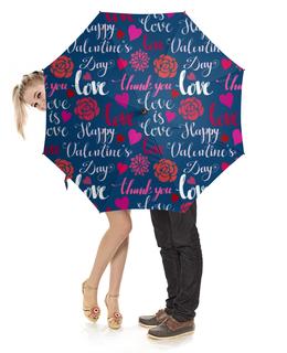"""Зонт-трость с деревянной ручкой """"День Св. Валентина"""" - любовь, сердца, валентинка, день св валентина"""