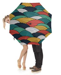 """Зонт-трость с деревянной ручкой """"Разноцветная абстракция"""" - рисунок"""