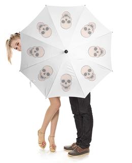"""Зонт-трость с деревянной ручкой """"Сладкие черепа"""" - череп, черепа, экостиль, шебби-шик"""