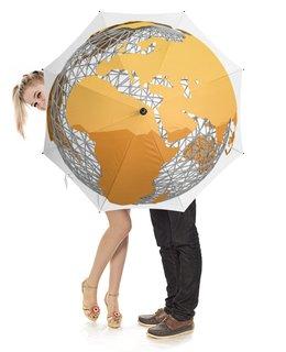 """Зонт-трость с деревянной ручкой """"Земной шар."""" - планета, космос, земля, глобус"""