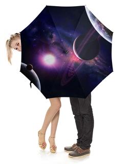 """Зонт-трость с деревянной ручкой """"Космос"""" - космос, вселенная, планеты, звёзды"""