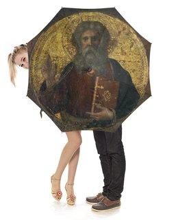 """Зонт-трость с деревянной ручкой """"Икона"""" - иисус, библия, фарфоломей, иоан, христианин"""