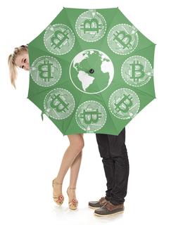 """Зонт-трость с деревянной ручкой """"Биткоин"""" - рубль, доллар, евро, криптовалюта, деньги"""