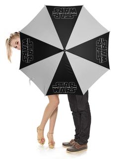 """Зонт-трость с деревянной ручкой """"Star Wars Design"""" - звезды, космос, фантастика, star wars, звездные войны"""