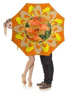 """Зонт-трость с деревянной ручкой """"Цветочный фреш."""" - цветок, гладиолус, гладиолусы, солнечное настроение, яркий цветник"""