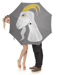 """Зонт-трость с деревянной ручкой """"Голова белого козла"""" - голова, злость, изумление, белый козел, удивленный козел"""