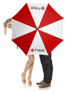 """Зонт-трость с деревянной ручкой """"Обитель зла. Корпорция Амбрелла"""" - обитель зла, resident evil, umbrella corporation, амбрелла, корпорция амбрелла"""