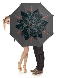 """Зонт-трость с деревянной ручкой """"Зонт-трость Black sacred geometry"""" - абстракция, мандала, нирвана, визуализация, черный цветок"""