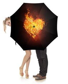 """Зонт-трость с деревянной ручкой """"Огненное сердце"""" - сердце, любовь, огонь, страсть, чувства"""