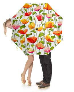 """Зонт-трость с деревянной ручкой """"Маки """" - цветы, акварель, листья, маки, стебель"""