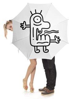 """Зонт-трость с деревянной ручкой """"Strange Monster"""" - монстр, чб, смешной, странный, doodle"""