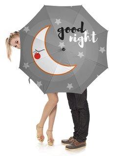 """Зонт-трость с деревянной ручкой """"good night"""" - звезды, ночь, спокойной ночи, месяц, good night"""