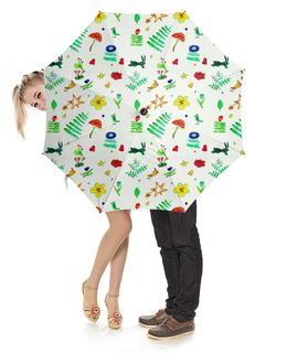 """Зонт-трость с деревянной ручкой """"Зонт-трость Финская тема"""" - цветы, птички, мухомор, листочки"""