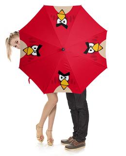 """Зонт-трость с деревянной ручкой """"Angry Birds (Terence)"""" - игры, мультфильм, angry birds, компьютерная игра, terence"""