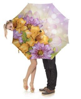 """Зонт-трость с деревянной ручкой """"Цветы"""" - лето, цветы"""