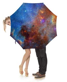"""Зонт-трость с деревянной ручкой """"Космос"""" - звезды, космос, вселенная, галактика"""
