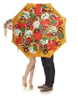 """Зонт-трость с деревянной ручкой """"Пицца"""" - еда, яркое, пицца"""