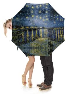 """Зонт-трость с деревянной ручкой """"Звёздная ночь над Роной (Винсент Ван Гог)"""" - картина, ван гог"""