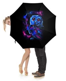 """Зонт-трость с деревянной ручкой """"Space Owl"""" - арт, space, рисунок, сова, совенок"""