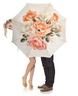"""Зонт-трость с деревянной ручкой """"Чайная роза"""" - розы, цветы"""