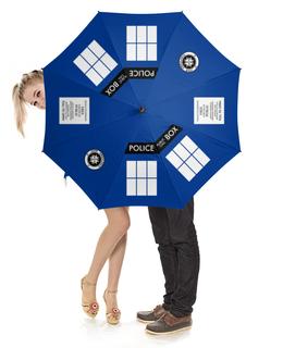 """Зонт-трость с деревянной ручкой """"ТАРДИС"""" - doctor who, tardis, доктор кто, тардис, полицейская будка"""