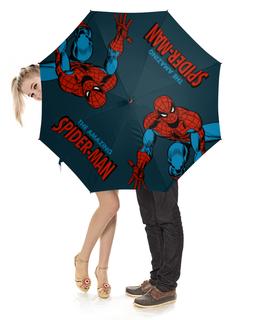 """Зонт-трость с деревянной ручкой """"Человек-паук"""" - комиксы, супергерои, spider man, человек паук, спайдермен"""