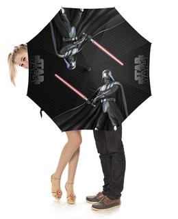 """Зонт-трость с деревянной ручкой """"Star Wars - Darth Vader"""" - космос, фантастика, звездные войны, дарт вейдер, звезда смерти"""