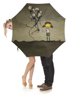 """Зонт-трость с деревянной ручкой """"девочка с шарами"""" - эксклюзив"""