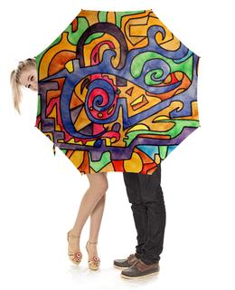 """Зонт-трость с деревянной ручкой """"2`XJ,UUU7"""" - арт, узор, абстракция, фигуры, текстура"""