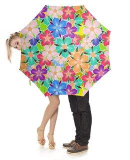 """Зонт-трость с деревянной ручкой """"Floral Design"""" - цветы, растения, флора, арт дизайн, модникам"""