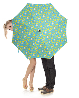 "Зонт-трость с деревянной ручкой ""Банана!"" - узор, голубой, желтый, паттерн, банан"